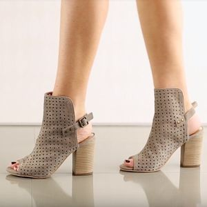 Diba Its a Wrap Taupe suede strap Heels Sandals